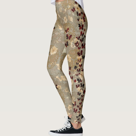 Flower and Butterfly leggings gold red