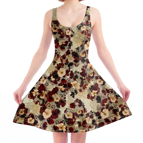 Flower and Butterfly Hibiscus A line dress