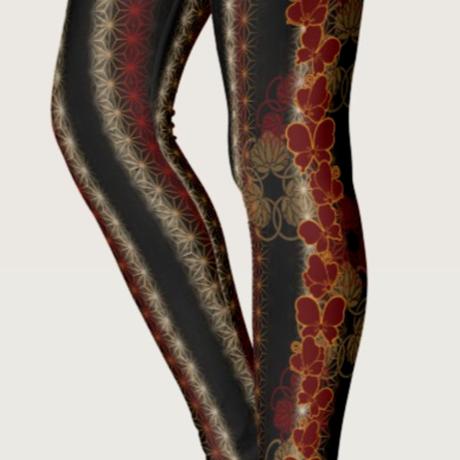 赤蝶麻の葉ラインレギンス