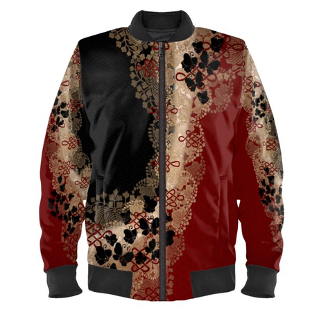Black Butterfly Ladies Bomber Jacket