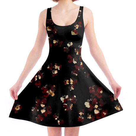Flower and Butterfly Black A line dress