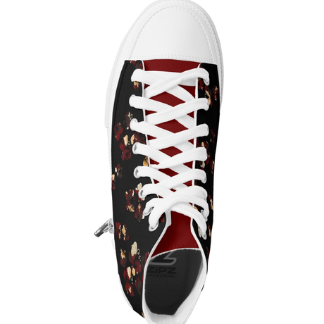 Flower and Butterfly Hibiscus HIGH TOP SHOES