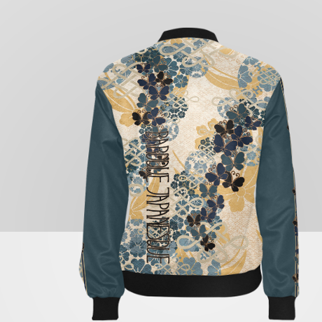 Blue butterfly Ladies Bomber Jacket