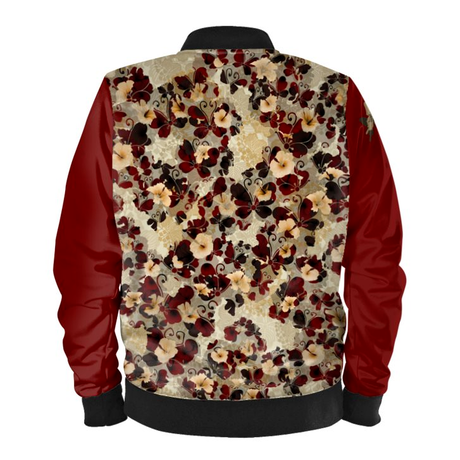 Butterfly and Flower Ladies Bomber Jacket