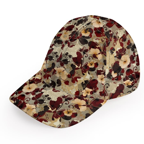 Flower and Butterfly Hibiscus Baseball Cap
