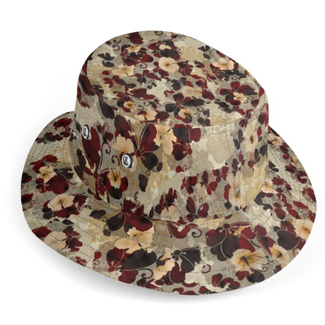 Flower and Butterfly Hibiscus reversible bucket hat