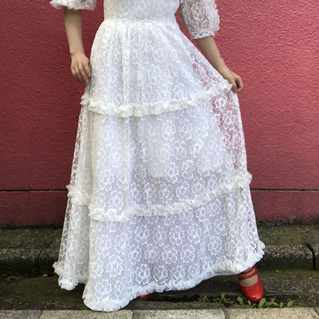 Vintage white full lace puff sleeve dress