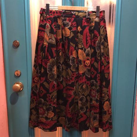 ヴィンテージ  花柄ウール ギャザースカート