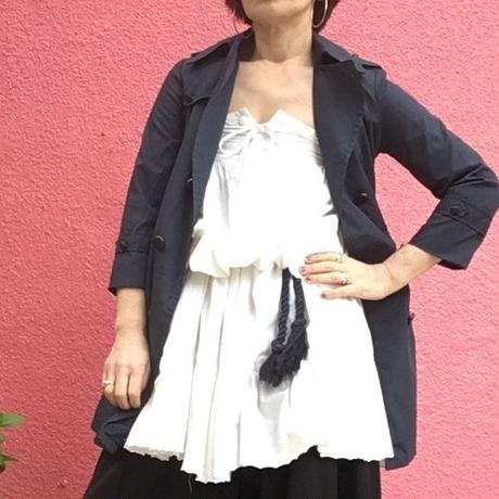 Vintage white cotton gather Top(skirt)