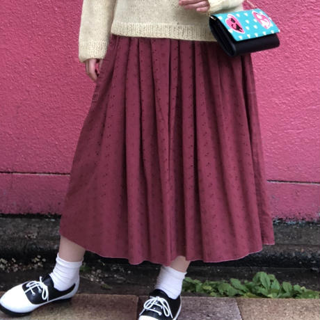 ヴィンテージ  ローズピンクのコットンレース ギャザースカートスカート