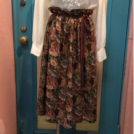 ヴィンテージ 花柄 ウール ギャザースカート