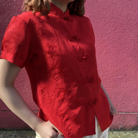 Vintage red China top