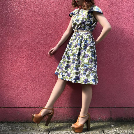 Vintage purple & blue floral cap-sleeve dress