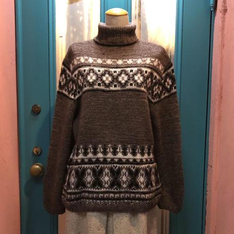 ヴィンテージ  ブラウン タートル 手編み ニット