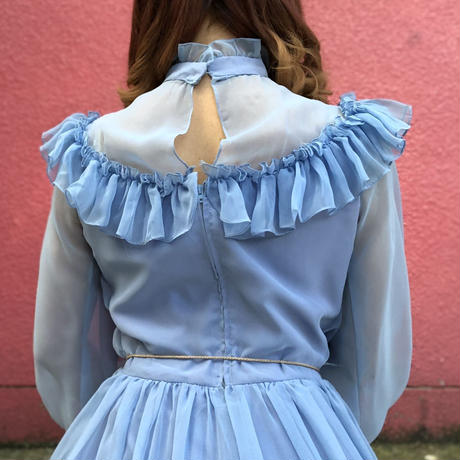 Vintage light blue chiffon frill long dress