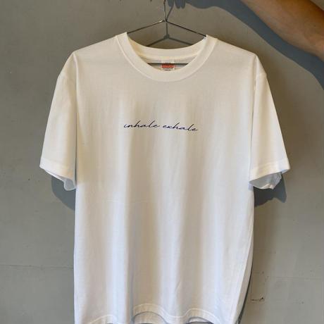 """INHALE EXHALE"" T-shirt White/Blue"