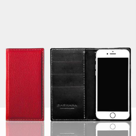 シェーブルレザー スマートフォンケース iPhone各モデル対応 レッド×ブラック