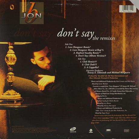 Jon B // Don't Say Remixes // RJ013A