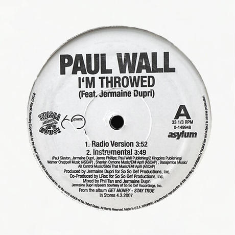 Paul Wall Feat. Jermaine Dupri // I'm Throwed // HP038B