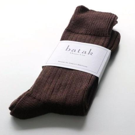 batak Cotton Plain Rib Socks/Brown