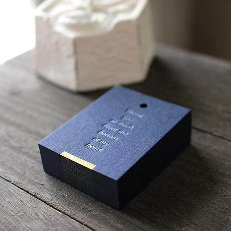 サンキュータグ紺【30枚】 ※活版印刷+金箔 (34×45mm)