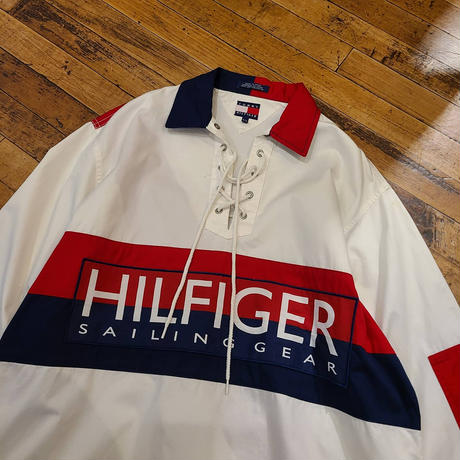 "1990's "" Tommy Hilfiger"" Lace Up Pullover Shirt SIZE ; M,L"