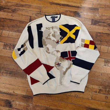 """1990's """"Nautica"""" Linen × Cotton Knit Sweater SIZE : L"""