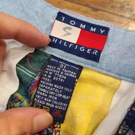 """~1990's """"TOMMY HILFIGER"""" Patchwork Short Pants SIZE : W30"""