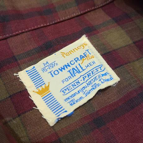 "~1970's ""TOWNCRAFT"" Open Collar Shirt SIZE : M"