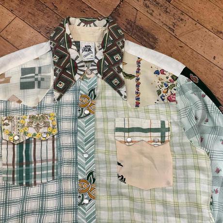 "1970's ""KENNINGTON"" Patchwork Western Shirt SIZE : M,L"