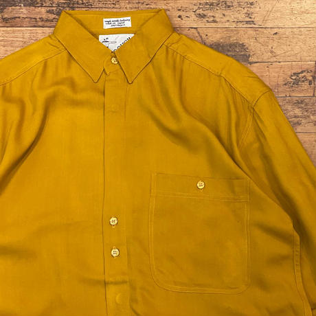 """1990's """"GOOUCH"""" L/S Rayon Shirt Dead Stock SIZE : L"""