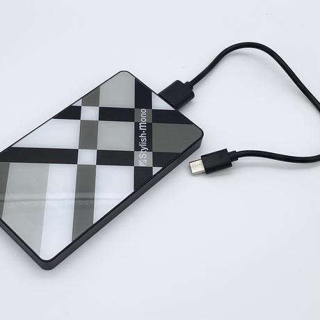 強化ガラス製モバイルバッテリー 4000mAh(モノトーンブロック)