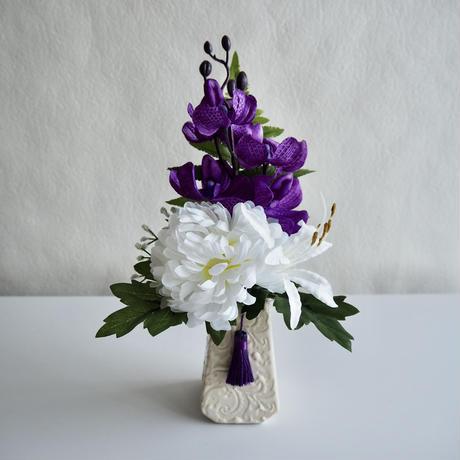 ●お供え花【モダン 仏花】気品 パープル& ホワイト*プレミアム舞花 B46