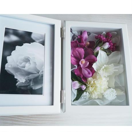 送料無料【フォトフレーム  モダン 仏花】優雅な表情のマゼンタスタイル*BF02