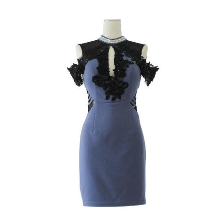オフショルレースフリルミニタイトドレス(h144)