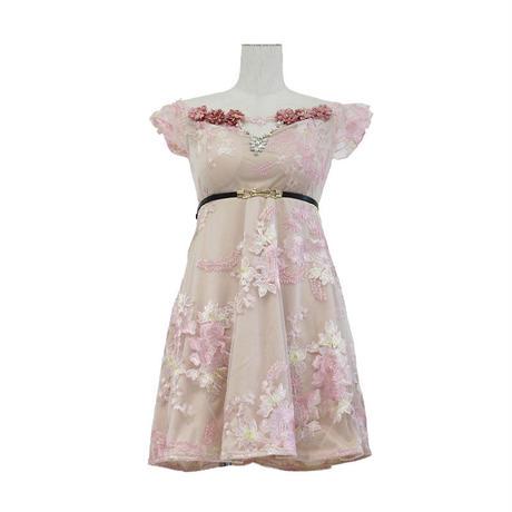 フラワー刺繍チュールオフショルミニドレス(a20004)