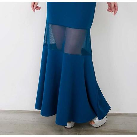 オフショルダータックデザインロングドレス(c19005)