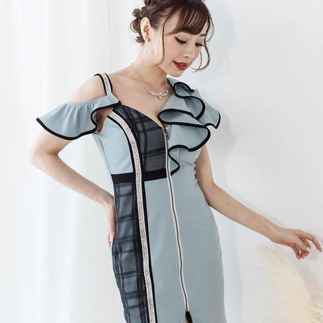 フリルアシメスリーブミニタイトドレス(h147)