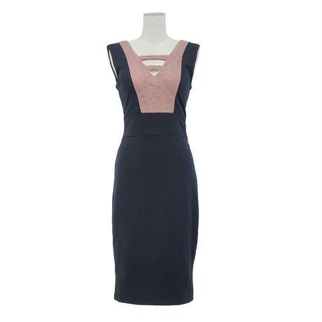 バイカラーノースリーブミディアムドレス(f19038)