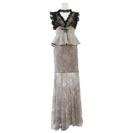 シアレースペプラムロングドレス(h145)