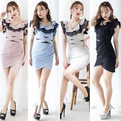 フリルレースミニタイトドレス(h20004)