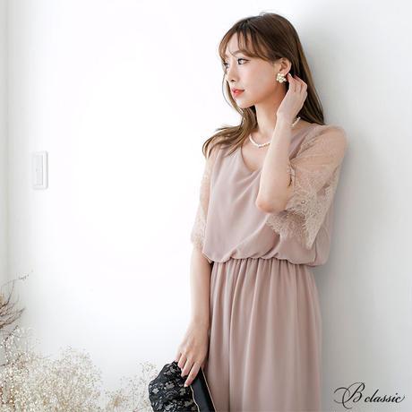 フレアレーススリーブパンツドレス(h19004)