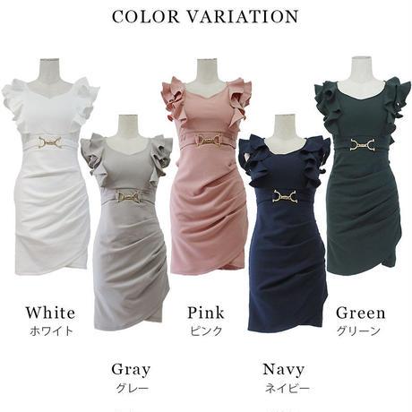 ダブルフリルスリーブミニタイトドレス(h19011)