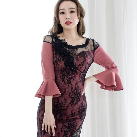 フレアハーフスリーブミニタイトドレス(h138)
