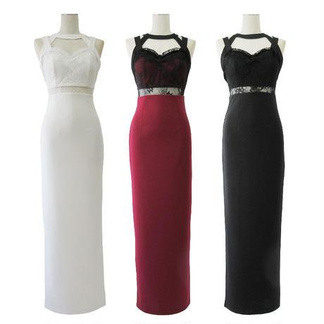ハイネックマーメイドラインロングドレス(h133)