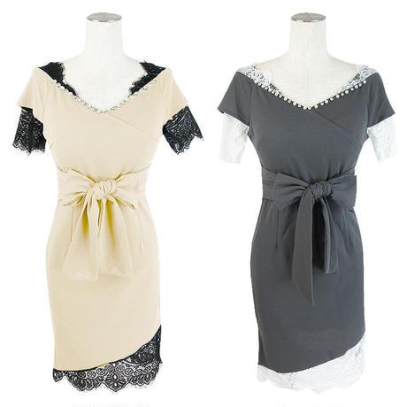 オフショルダーポイントレースドレス(e18015)