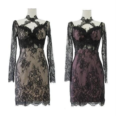 シアレースロングスリーブミニタイトドレス(h140)