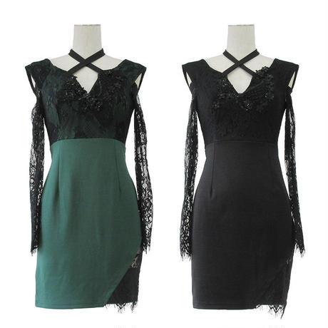 クロスホルターミニタイトドレス(h132)