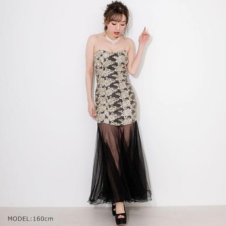 ゴールド刺繍ベアロングドレス(h123)