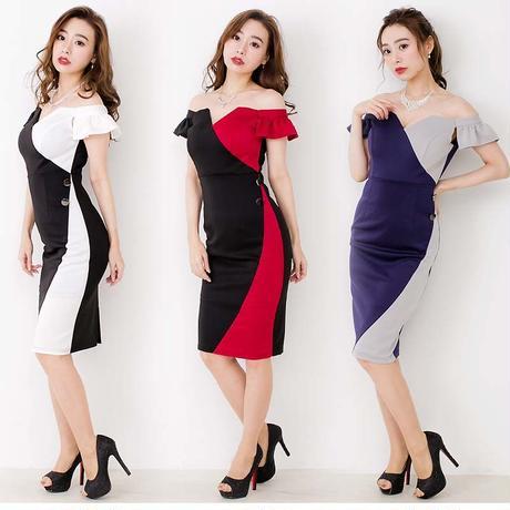 ブロッキングデザイン オフショルミディアムドレス(h098)